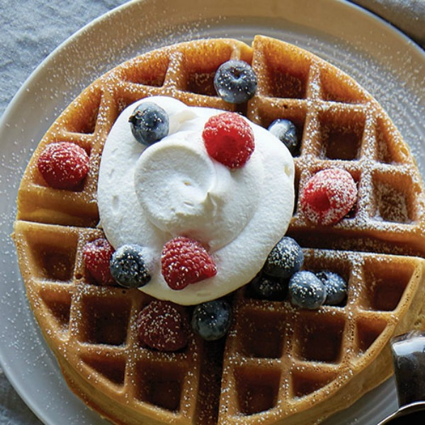 Whipped Cream on Homemade Waffles from Pampered Chef featured on Walking on Sunshine