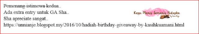 Jadi Pemenang Istimewa Birthday Giveaway by KasihkuAmani