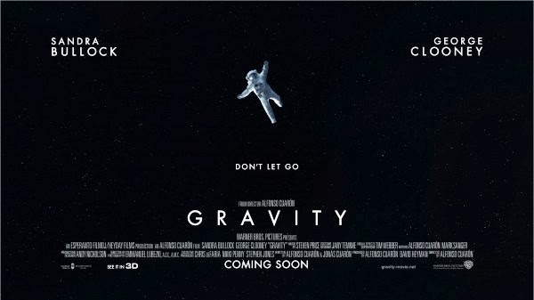 The Lonely Astronaut of Sandra Bullock drifts into space on the Gravity Movie Poster