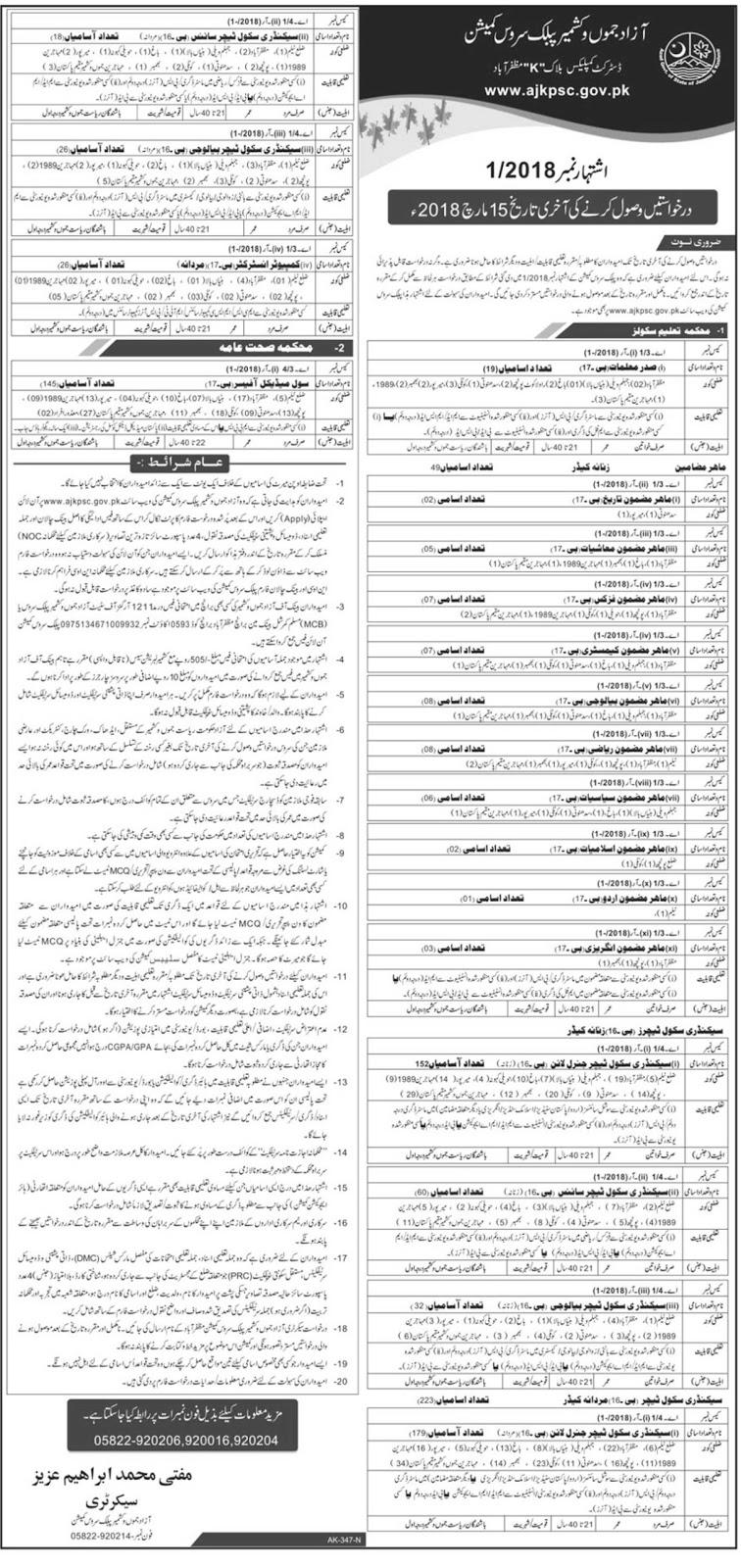 978 Jobs In Azad Jammu And Kashmir Public Service Commission - AJKPSC Jobs 2018