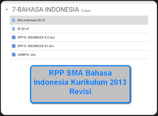 RPP SMA Bahasa Indonesia Kurikulum 2013 Revisi