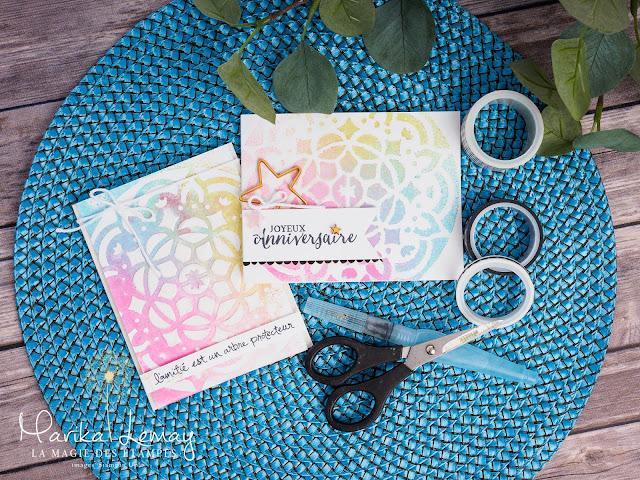 Carte d'anniversaire Stampin'Up! faite avec les pochoirs décoratifs Motifs en tous genres