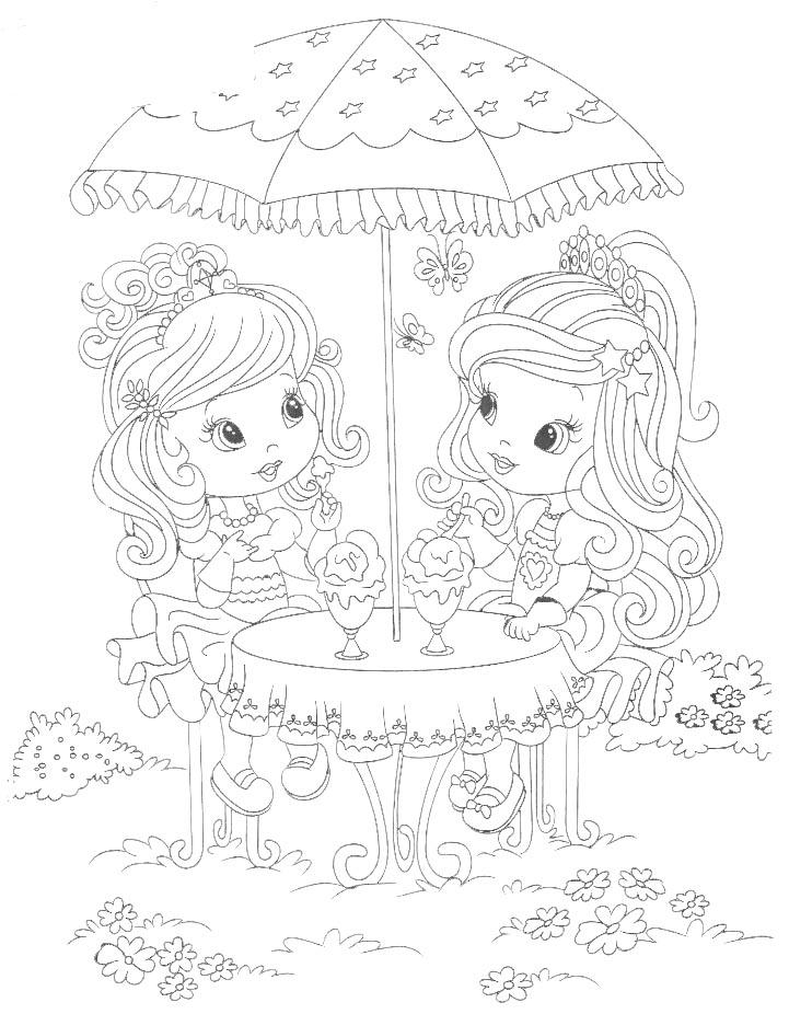 Dibujo para colorear de princesitas comiendo helados