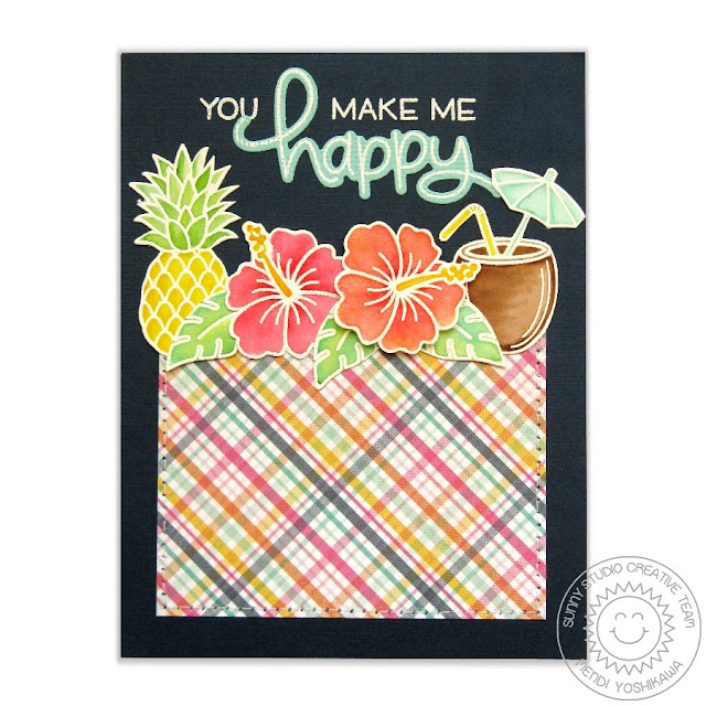 Sunny Studio Stamps Tropical Paradise Card by Mendi Yoshikawa using Tonic Nuvo Aqua Flow Pens