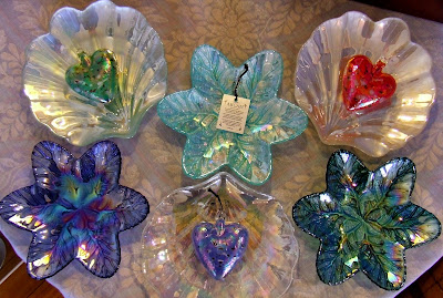 Iridescent glass dishes made in Turkey
