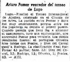 Recorte de La Vanguardia sobre el I Torneo Internacional de Ajedrez Lugo 1957