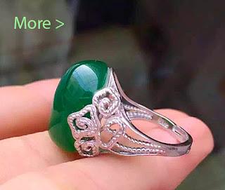 green jade and silver ring