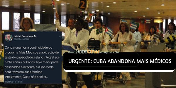 'INFELIZMENTE, CUBA NÃO ACEITOU' CONDIÇÕES PARA MAIS MÉDICOS, AFIRMA BOLSONARO