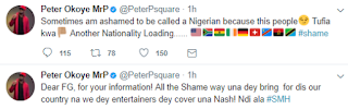 Peter Okoye reacts to FG's plan to stop Entertainers from Making Videos abroad