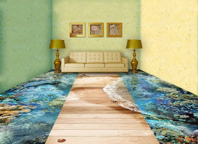 3D flooring murals, living room 3D floor designs