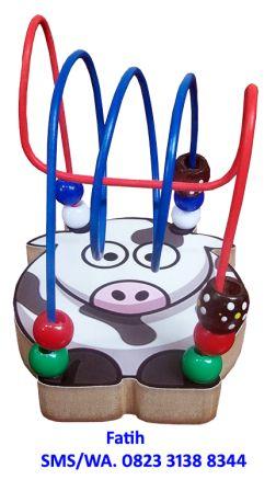 Mainan Edukasi Dari Kayu Mini Wire Game Sapi