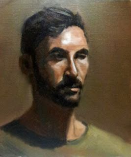 Oil painting of a young man with dark hair and a beard wearing a green t-shirt.