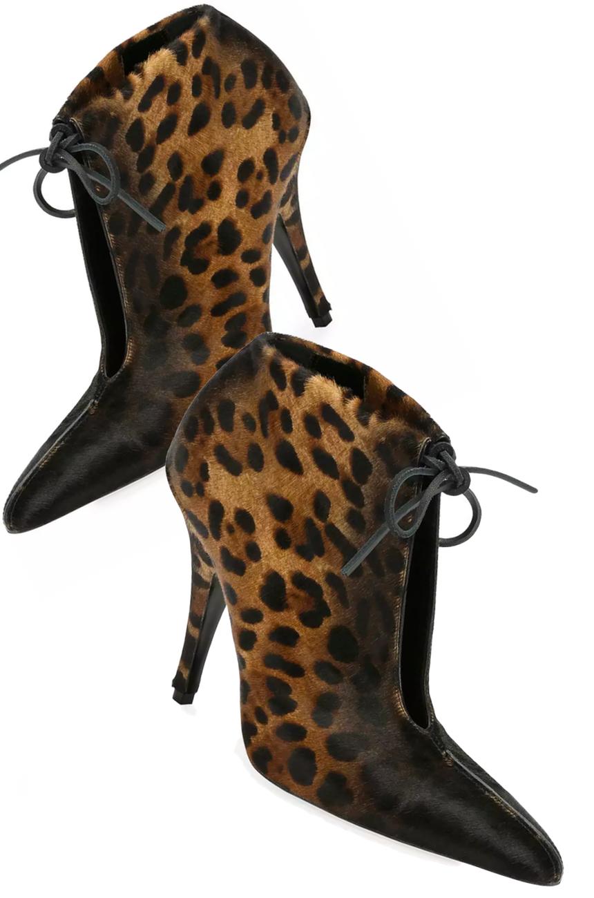 TOM FORD Leopard-Print Ankle-Tie 105mm Bootie, Black/Multi