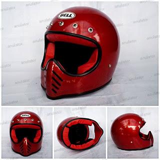 HELM CAKIL REPLIKA BELL MOTO 3 RED HOT / CAFE RACER