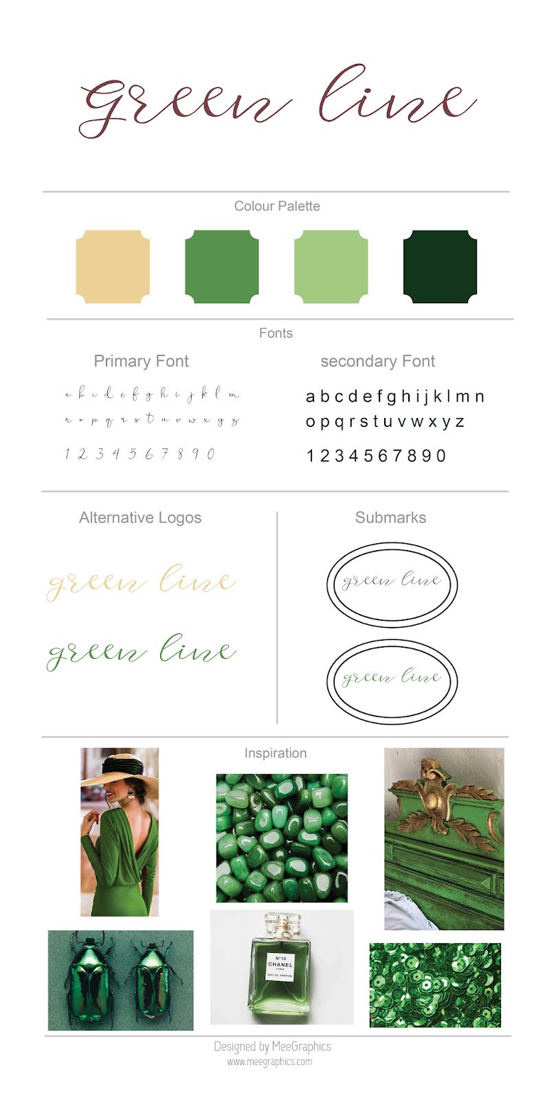 Brand Board Template | Meegraphics Green Line Brand Board Design Green Inspiration