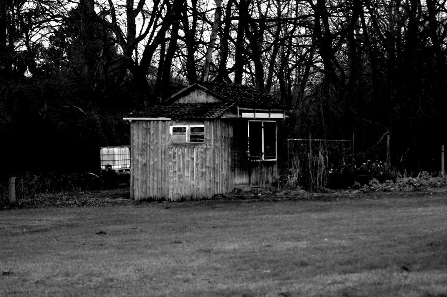 Blog + Fotografie by it's me! - #FiveDayBlackandWhiteChallenge - Schrebergartenhütte mit Rasenfläche