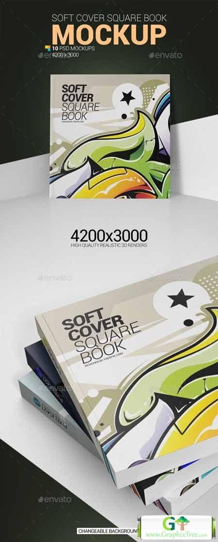Graphicriver Soft Cover Square Book Mockup 25898591