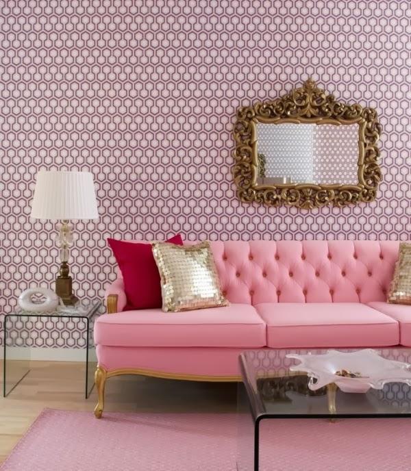 Foto sala sofá rosa