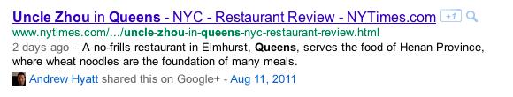 Google+ in Social Search
