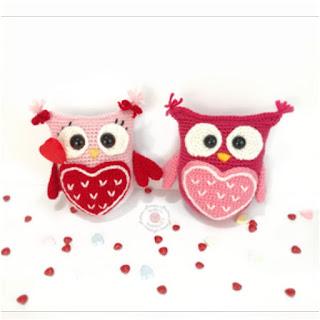 patron amigurumi Búhos de San Valentín holly's hobbies