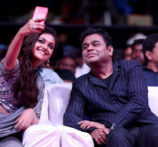 Keerthy Suresh with Cute and Lovely Smile with AR Rahman in Sarkar Audio Launch