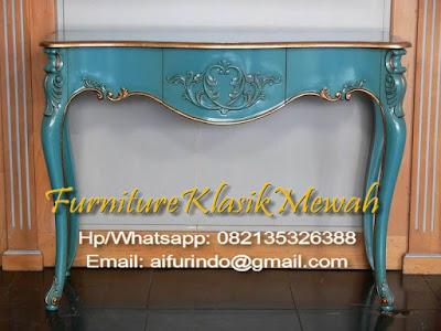Furniture meja konsul jati Ukir-Furniture klasik mewah-Meja konsul jati ukir
