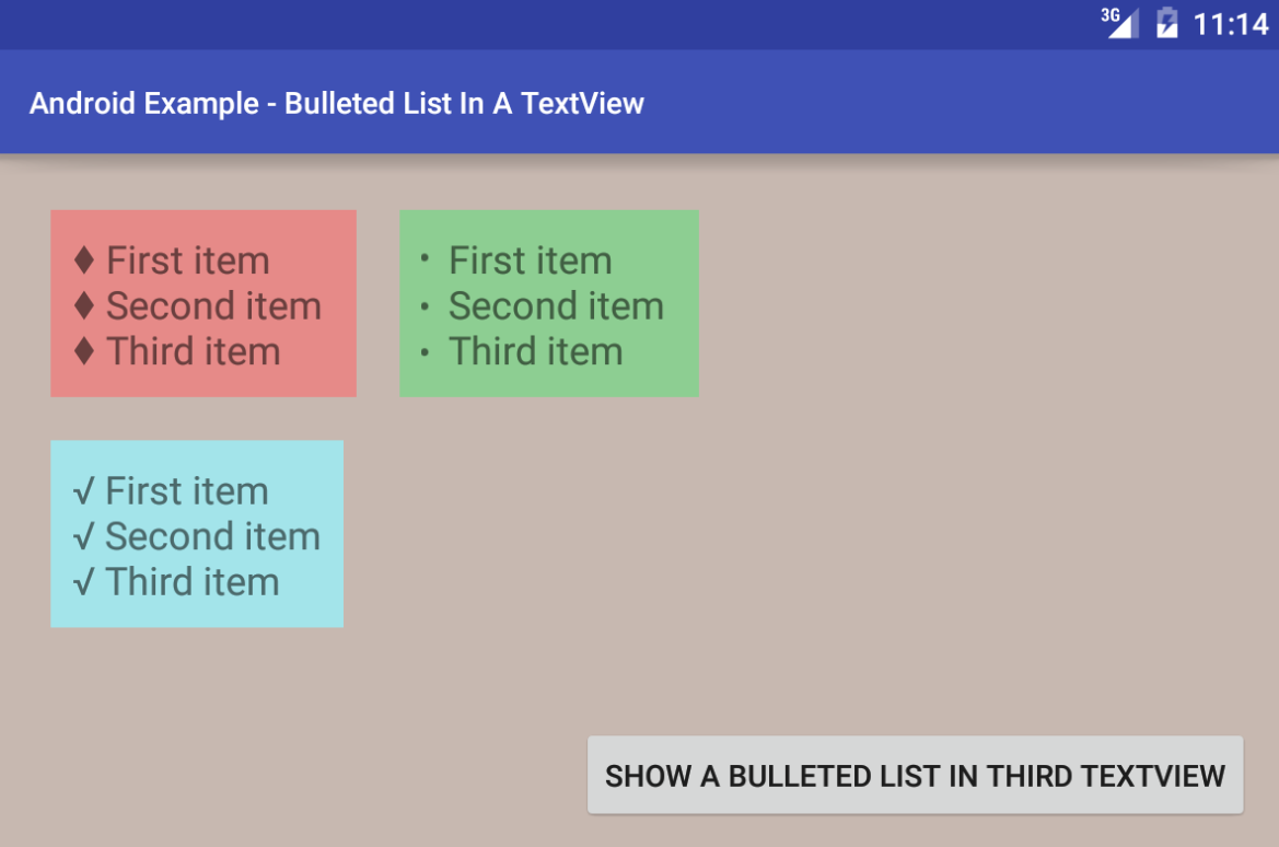 Android How To Display Bulleted List On A Textview