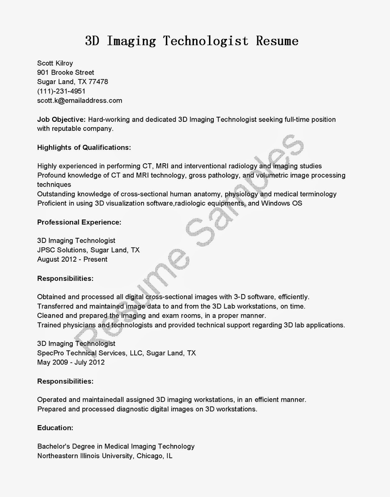 Ray Tech Resume Samples X Technician