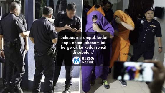 Rompak Kedai, Acu Pistol Dan Kurung Pekerja Warga Asing Sewaktu Bertugas, 6 Polis Ditahan