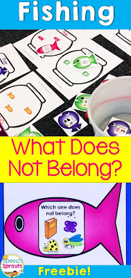 FREE What Does Not Belong Fishing Game by Speech Sprouts. Teach associations, categories and color sorting too!  www.speechsproutstherapy.com
