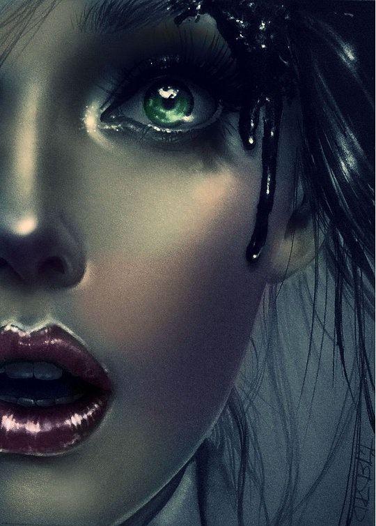 Retrato dramático de mujer con lábios rojos
