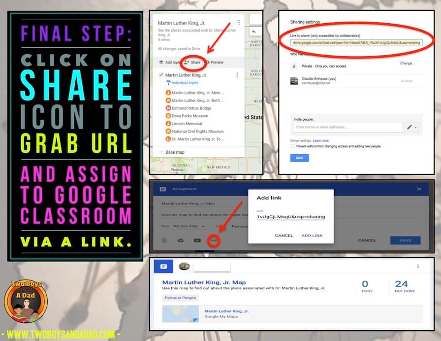 sharing Google Maps in Google Classroom