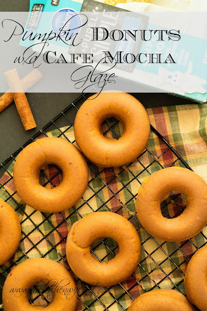The pumpkin donuts on a cooking rack, totally finished, with the title above the image.