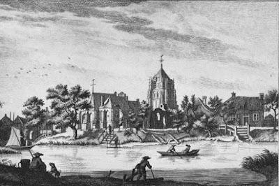 Catharina kerk met scheve toren in Acquy
