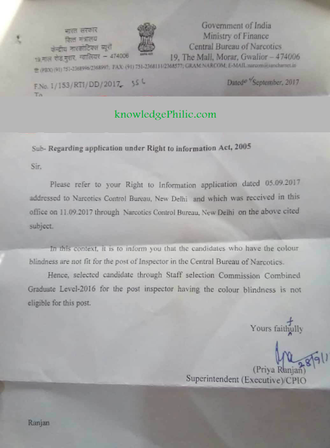Colour Blinds are not eligible for Post of Inspectors at Central Bureau of Narcotics (RTI Reply)
