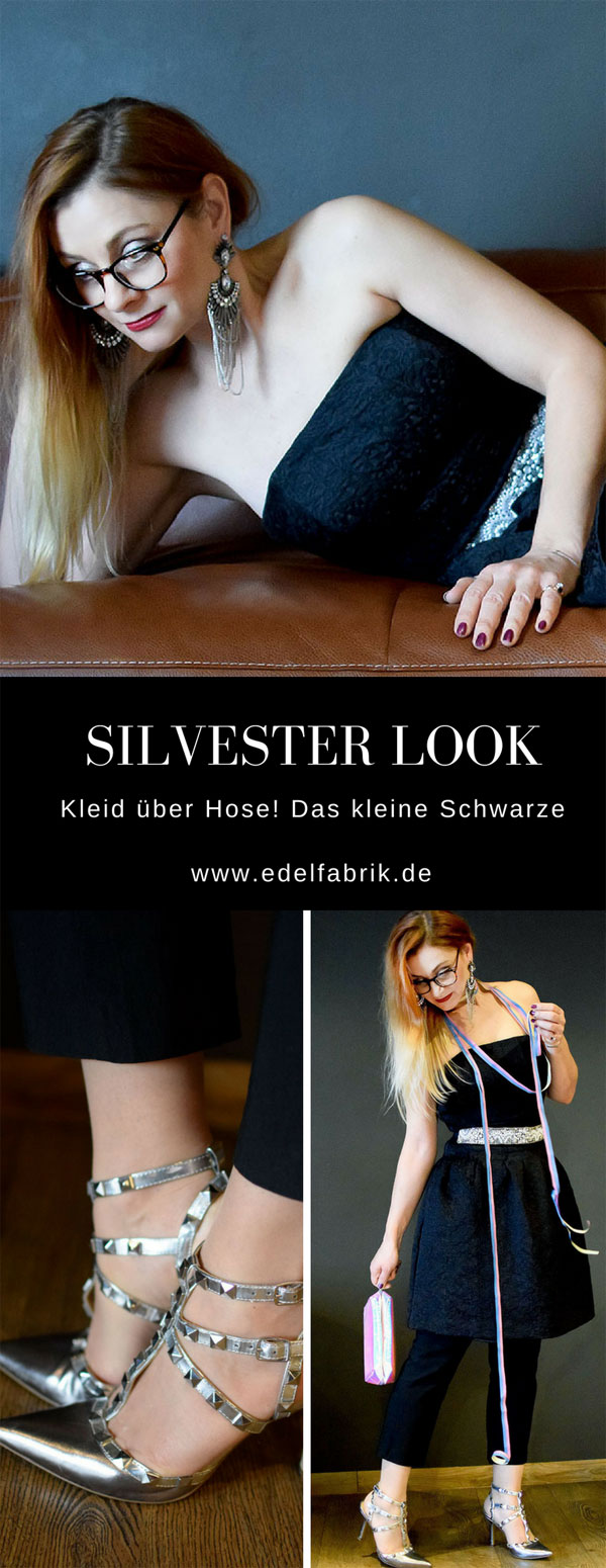 Silvesteroutfit, Silber und Schwarz, High Heels Silber