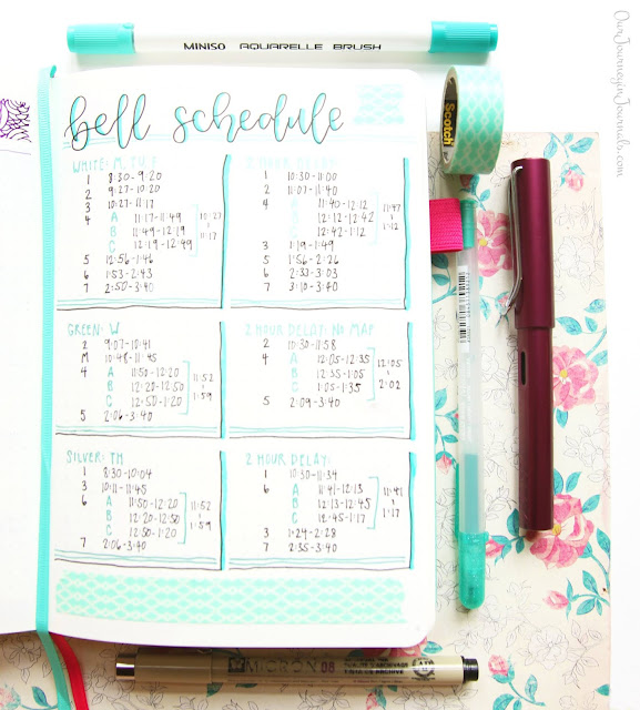 school bell schedule bullet journal spread