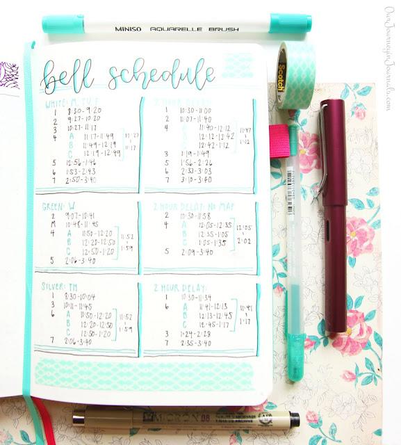 school bell schedule bullet journal spread