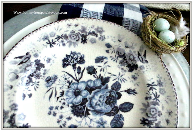 French Country Farmhouse-Dining Room-Pottery Barn- Dinnerware-Vintage Style-Floral Plates-Blue and White-From My Front Porch To Yours