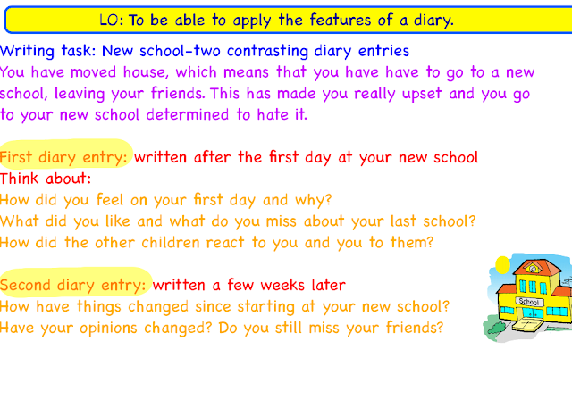 language features of diary writing