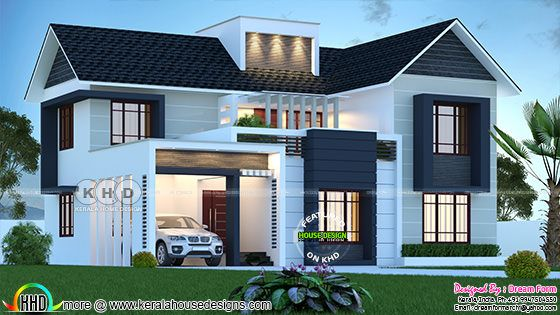Modern mixed roof contemporary house rendering