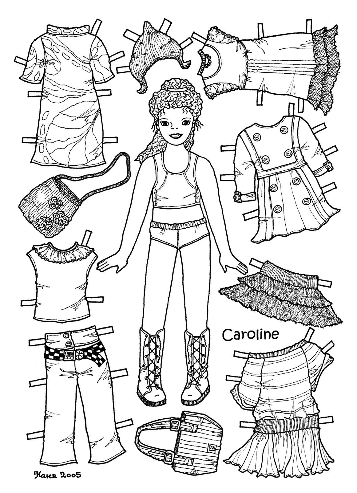 Karen`s Paper Dolls: Caroline 1-6 Paper Doll to Colour