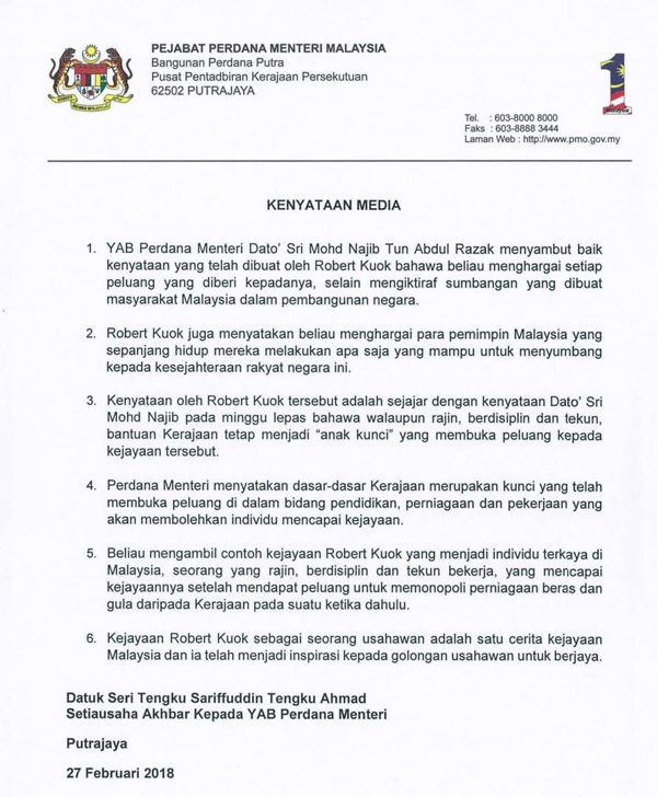 PM sambut baik kenyataan Kuok, hargai jasa pemimpin