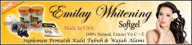 New Suplemen Kecantikan Alami, Pemutih Kulit atau Badan dan Pemutih Wajah Emilay Whitening Original USA