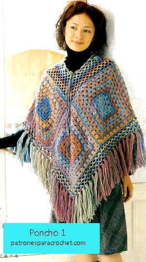 poncho tejido crochet con cuadros y punto de abuelita