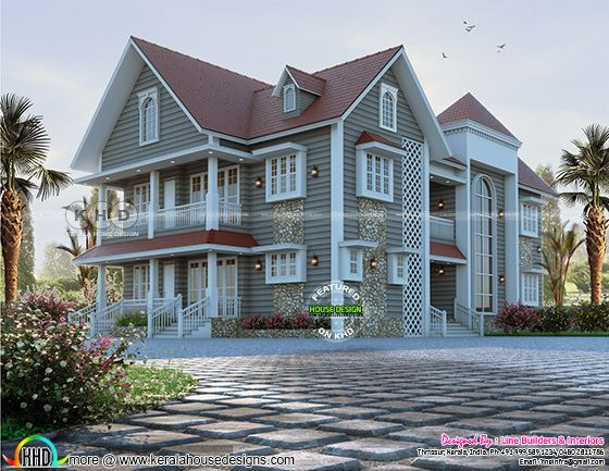 Front side elevation rendering of European model sloped roof house