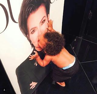 Cute photo of Saint West kissing Kris Jenner