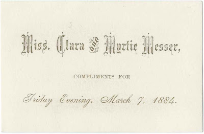 1884 Calling Card of the Misses Clara Messer & Myrtie Messer, possibly of New London, New Hampshire