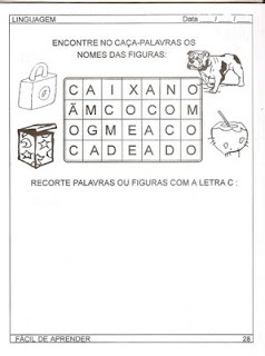 Atividades de Alfabetização - Anos Iniciais - Encontre o nome das figuras