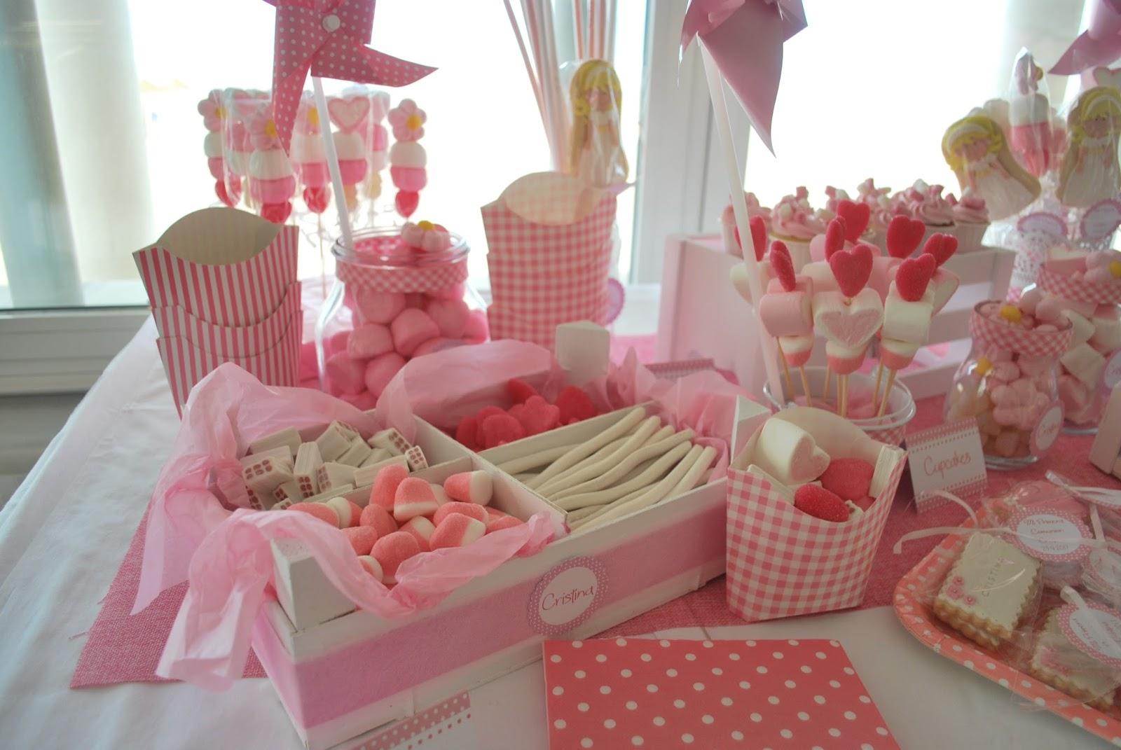 Baby sugar mesa dulce comuni n cristina - Como decorar botes de cristal para chuches ...